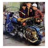 """Tex's Motorcycle"", April 7, 1951 Giclee Print by Stevan Dohanos"