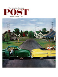 """""""Backup Collision"""" Saturday Evening Post Cover, August 4, 1956 Giclee Print by Stevan Dohanos"""