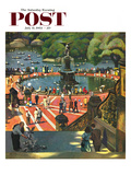 """Boating in Central Park"" Saturday Evening Post Cover, July 11, 1953 Giclee Print by John Falter"