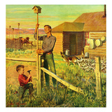 """Putting Up Birdhouses"", June 9, 1951 Giclee Print by John Clymer"