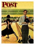 &quot;Bowling Strike&quot; Saturday Evening Post Cover, January 28, 1950 Reproduction proc&#233;d&#233; gicl&#233;e par George Hughes