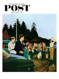 &quot;First Day at Camp&quot; Saturday Evening Post Cover, July 3, 1954 Reproduction proc&#233;d&#233; gicl&#233;e par George Hughes
