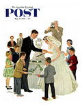 """Cutting the Cake"" Saturday Evening Post Cover, May 17, 1958 Giclee Print by Ben Kimberly Prins"