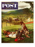 """Dog Days of Summer"" Saturday Evening Post Cover, June 25, 1955 Giclee Print by John Clymer"