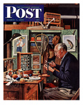 """Tying Flies"" Saturday Evening Post Cover, March 4, 1950 Giclee Print by Stevan Dohanos"