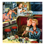 """Diner Engagement"", July 15, 1950 Giclee Print by Constantin Alajalov"