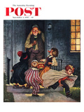 """Tricking Trick-Or-Treaters"" Saturday Evening Post Cover, November 3, 1951 Giclee Print by Amos Sewell"