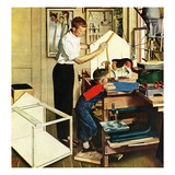 """Building a Doghouse"", November 27, 1954 Giclee Print by George Hughes"