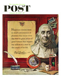 """Benjamin Franklin - Bust and Quote"" Saturday Evening Post Cover, January 18, 1958 Giclee Print by Stanley Meltzoff"
