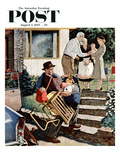 """Visiting the Grandparents"" Saturday Evening Post Cover, August 3, 1957 Giclee Print by Amos Sewell"