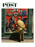 &quot;Power Tool Window Shopping&quot; Saturday Evening Post Cover, November 10, 1951 Reproduction proc&#233;d&#233; gicl&#233;e par Stevan Dohanos