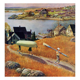 """Children with Rowboat"", October 31, 1953 Giclee Print by John Clymer"