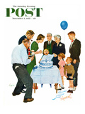 """""""First Birthday"""" Saturday Evening Post Cover, November 2, 1957 Giclee Print by George Hughes"""