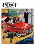 """Automobile Showroom"" Saturday Evening Post Cover, December 8, 1956 Giclee Print by Amos Sewell"