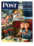 """Diner Engagement"" Saturday Evening Post Cover, July 15, 1950 Giclee Print by Constantin Alajalov"