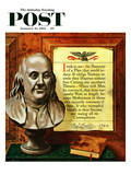 """""""Benjamin Franklin - Bust and Quote"""" Saturday Evening Post Cover, January 16, 1954 Giclee Print by John Atherton"""
