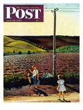 """Muddy Walk Home"" Saturday Evening Post Cover, May 13, 1950 Giclee Print by John Falter"