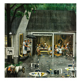 """Rain-out Birthday Party"", May 22, 1954 Giclee Print by Stevan Dohanos"