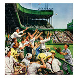 """Catching Home Run Ball"", April 22, 1950 Reproduction procédé giclée par Stevan Dohanos"