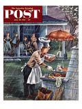 """Rainy Barbecue"" Saturday Evening Post Cover, July 28, 1951 Giclee Print by Constantin Alajalov"