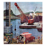 """Bridge Construction"", March 9, 1957 Giclee Print by Ben Kimberly Prins"