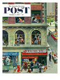 """World Series Scores"" Saturday Evening Post Cover, October 2, 1954 Gicleetryck av Thornton Utz"