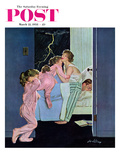 """Lighting Storm"" Saturday Evening Post Cover, March 22, 1958 Giclee Print by M. Coburn Whitmore"
