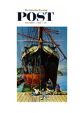 """Big Ship at Dock"" Saturday Evening Post Cover, November 5, 1955 Giclee Print by John Falter"
