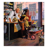 """Returning Bottles for Refund"", March 28, 1959 Giclee Print by George Hughes"