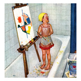 """Artist in the Bathtub"", October 28, 1950 Giclee Print by Jack Welch"
