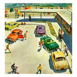 """""""Flat Tire at the Beach"""", July 23, 1955 Giclee Print by Thornton Utz"""