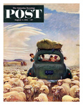 """Oregon or Bust"" Saturday Evening Post Cover, August 4, 1951 Giclee Print by John Clymer"