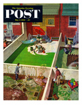 """Painting the Patio Green"" Saturday Evening Post Cover, May 2, 1953 Giclee Print by Thornton Utz"