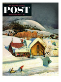 """Deep Snow Fall"" Saturday Evening Post Cover, January 23, 1954 Giclee Print by John Clymer"