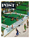 """Water Fight"" Saturday Evening Post Cover, June 30, 1951 Gicléetryck av Thornton Utz"