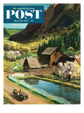 """Mountain Farm"" Saturday Evening Post Cover, March 23, 1957 Giclee Print by John Clymer"