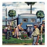 """""""Trailer Park Garden"""", February 2, 1952 Giclee Print by Stevan Dohanos"""