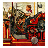 """Boy on Fire Truck"", November 14, 1953 Giclee Print by Stevan Dohanos"