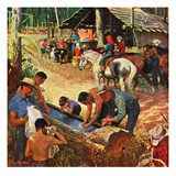 """Dude Ranch Meal"", July 29, 1950 Giclee Print by John Clymer"