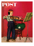 """Violin Practice"" Saturday Evening Post Cover, February 5, 1955 Giclee Print by Richard Sargent"