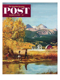 """Colorado Creek"" Saturday Evening Post Cover, October 13, 1951 Giclee Print by John Clymer"