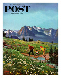 """Picnic On Mt. Ranier"" Saturday Evening Post Cover, July 17, 1954 Giclee Print by John Clymer"