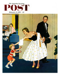 """""""Formal Hug"""" Saturday Evening Post Cover, February 15, 1958 Giclee Print by Amos Sewell"""