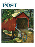 """Covered Bridge"" Saturday Evening Post Cover, August 14, 1954 Giclee Print by John Falter"