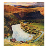 """Yakima River Cattle Roundup"", May 10, 1958 Giclee Print by John Clymer"