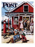 """Coastal Postal Office"" Saturday Evening Post Cover, August 26, 1950 Giclee Print by Stevan Dohanos"