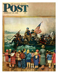 """Washington Crossing the Delaware"" Saturday Evening Post Cover, February 24, 1951 Giclee Print by Stevan Dohanos"