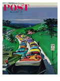 """Resume Safe Speed"" Saturday Evening Post Cover, May 30, 1959 Giclee Print by Thornton Utz"