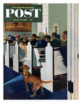 """Dog Walks Down Aisle of Church"" Saturday Evening Post Cover, March 24, 1956 Giclee Print by George Hughes"