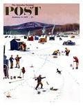 """Ice Fishing Camp"" Saturday Evening Post Cover, January 12, 1957 Lámina giclée por Stevan Dohanos"
